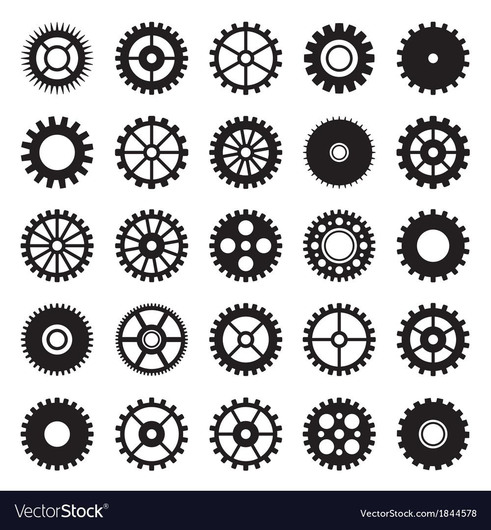 Gear wheel icons set 1
