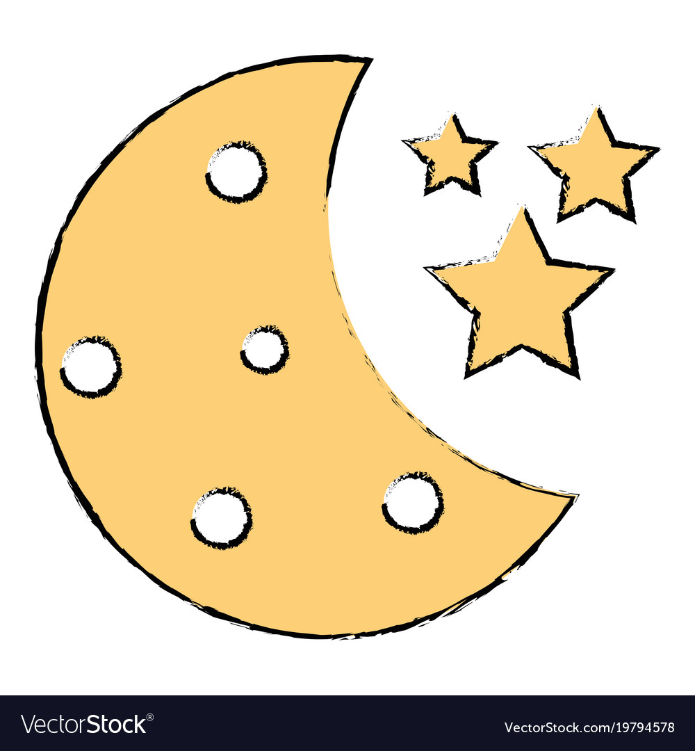 Half Moon With Stars Royalty Free Vector Image
