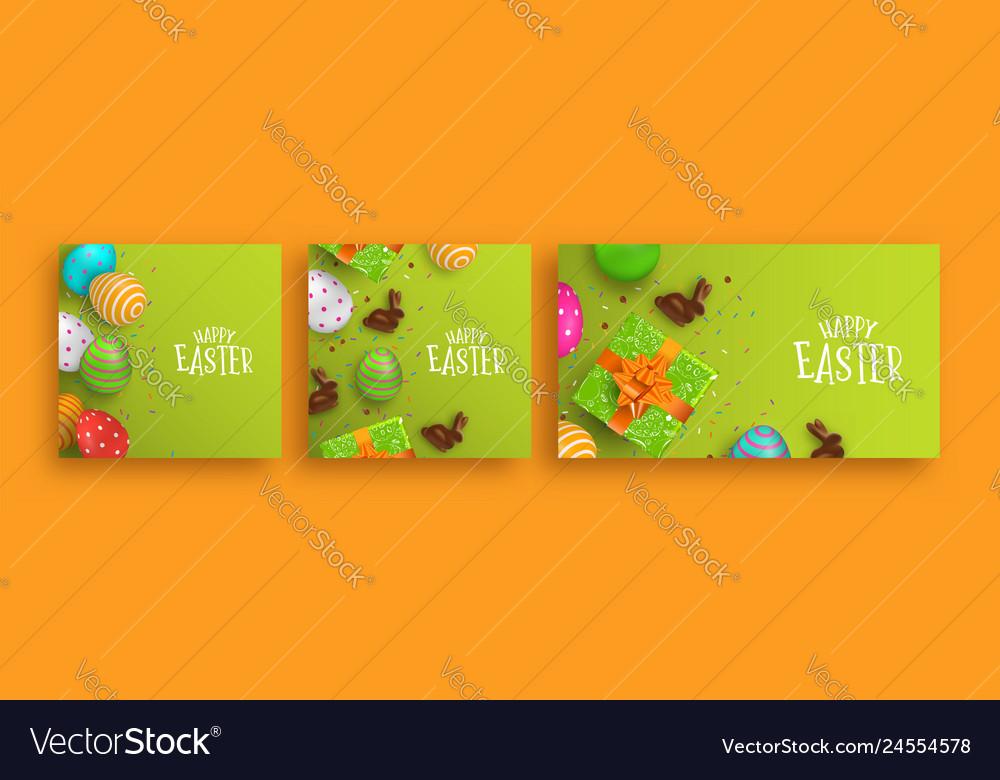 Happy easter 3d spring holiday banner set
