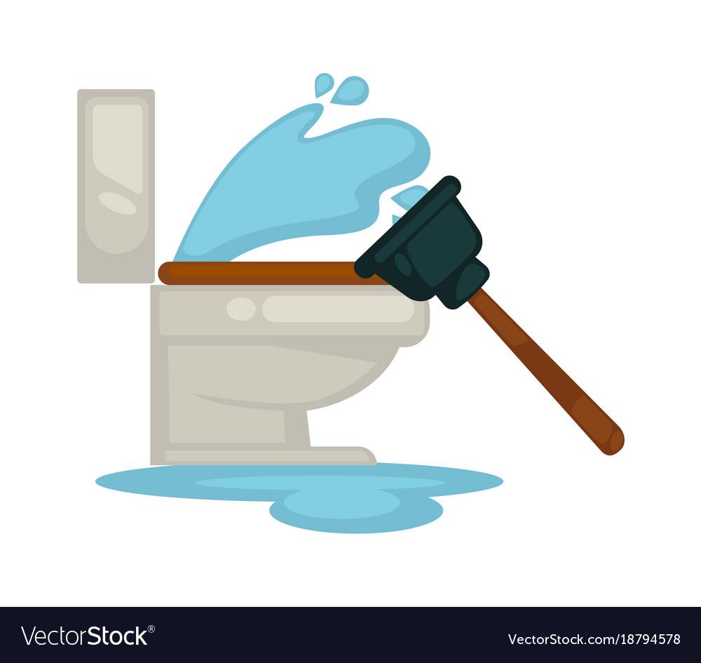 House plumbing toilet leakage or clogging plumber Vector Image