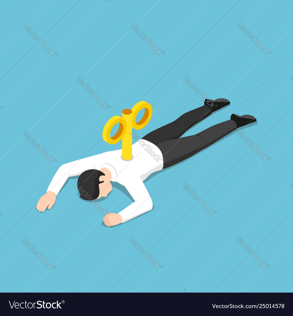 Isometric exhausted businessman with wind-up key