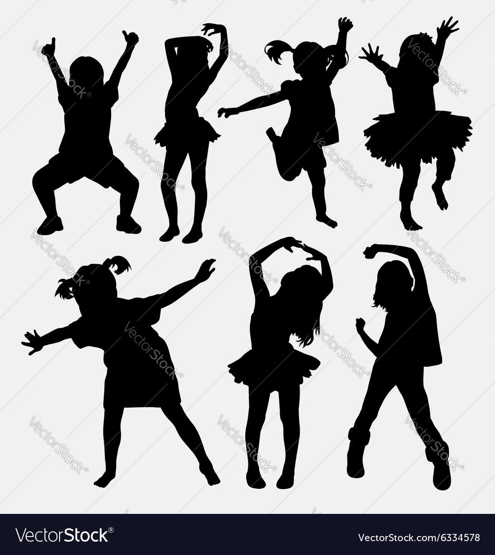 kid little girl dancing silhouettes royalty free vector rh vectorstock com break dancer silhouette vector dancer silhouette man vector