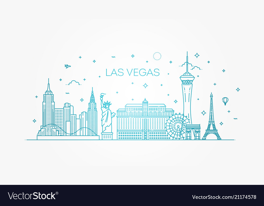 Las vegas skyline with panorama in white
