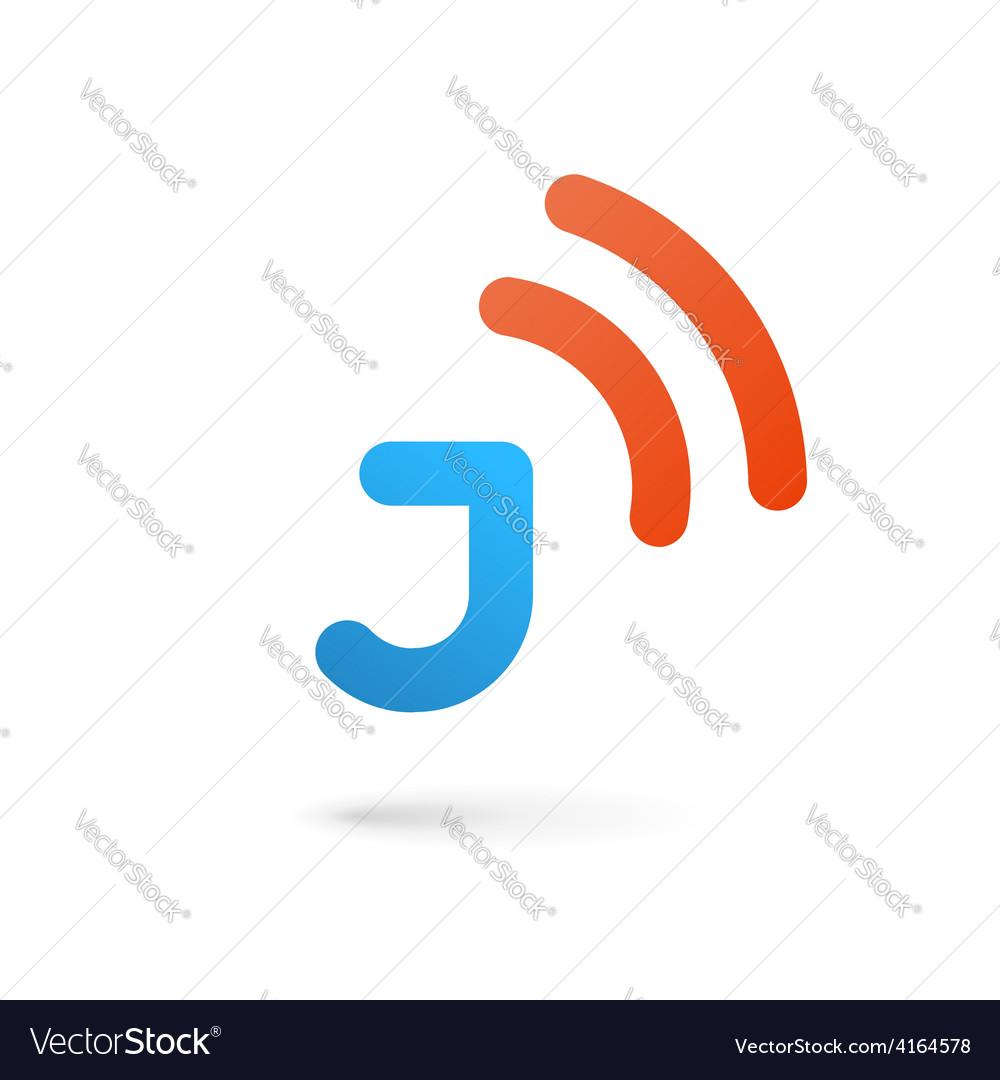 Letter J wireless logo icon design template vector image