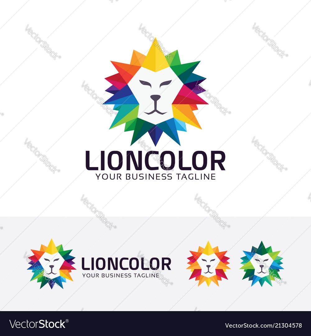 Lion color logo design
