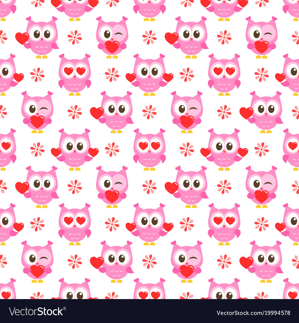 Pattern with pink owls with hearts