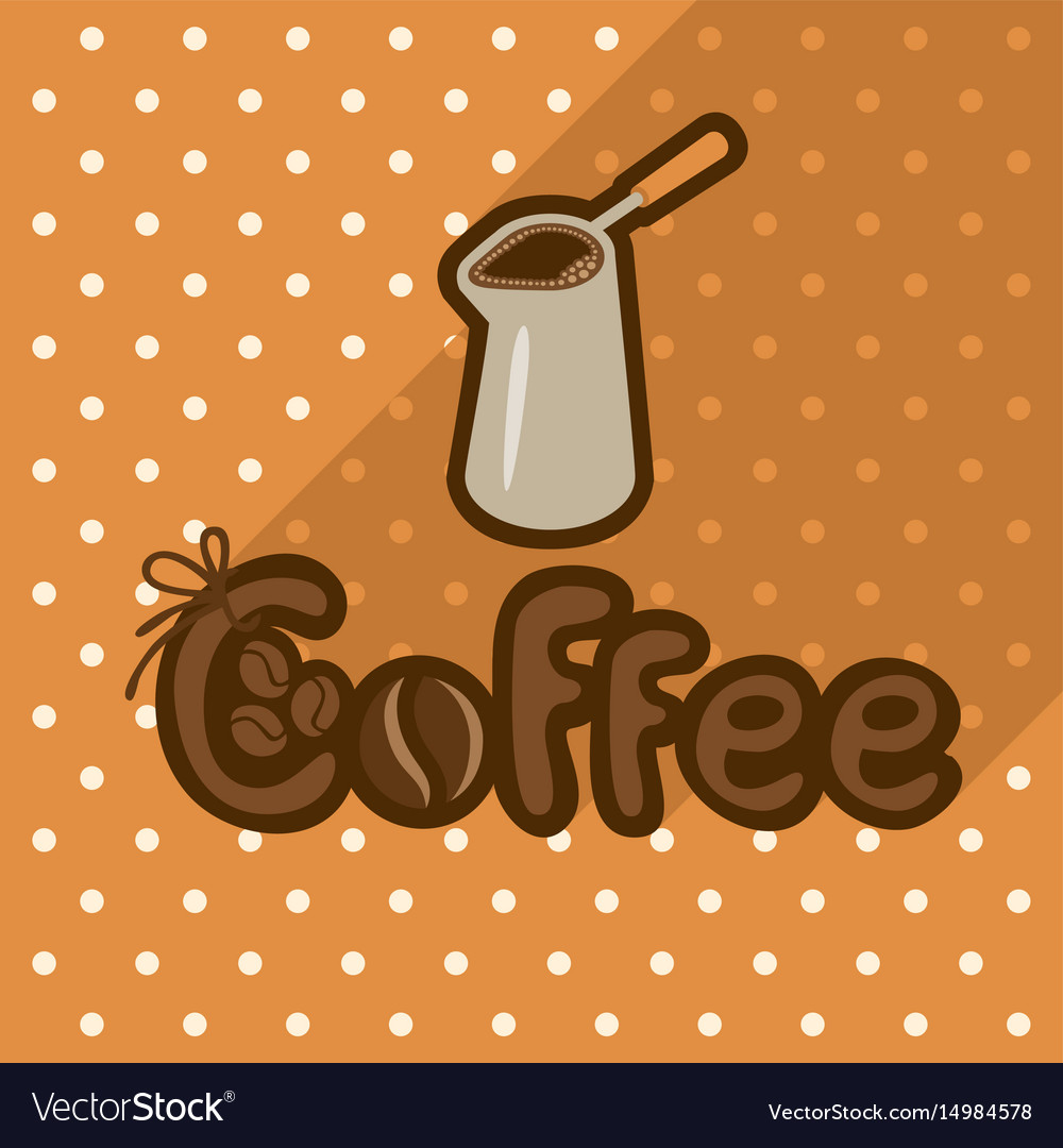Poster in flat style with coffee in cezve