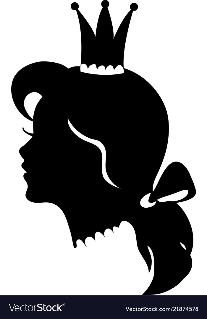 profile of a princess or queen silhouette vector image