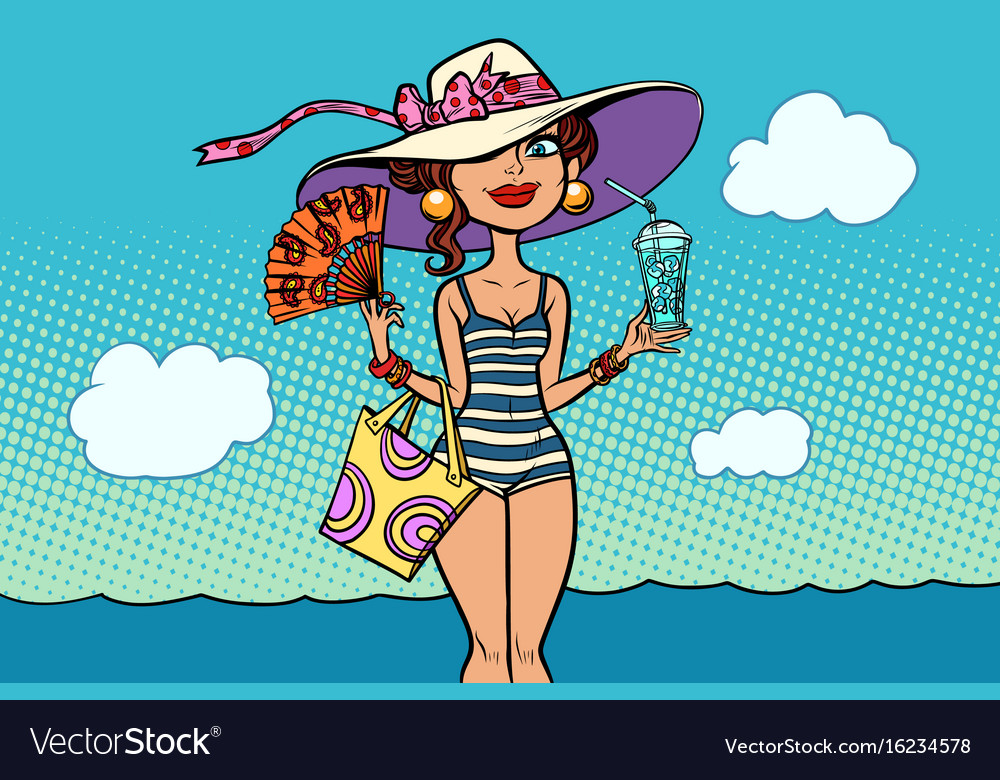 retro woman on sea beach holidays vector image