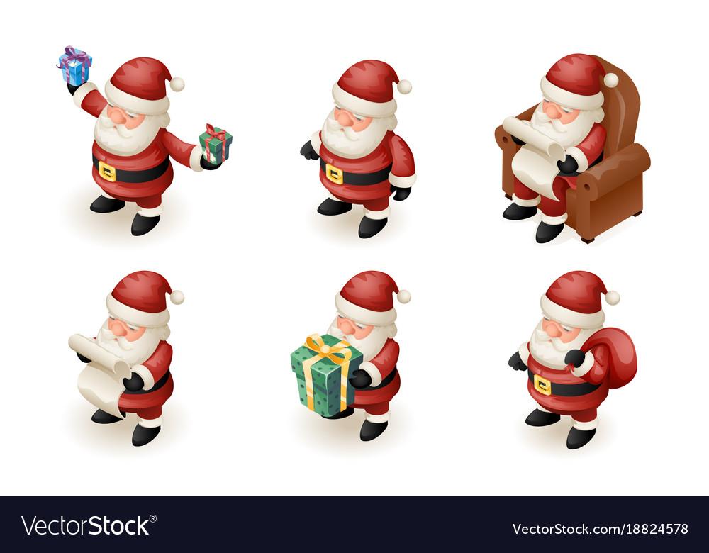 Santa claus isometric 3d read gift list sit