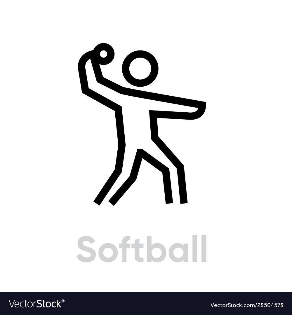 Softball sport icons