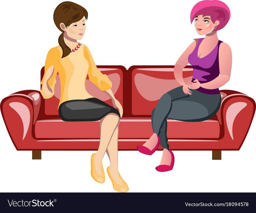 Two Women Sitting On A Sofa Royalty Free Vector Image