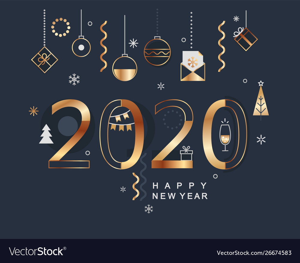2020 new year minimal banner with gold elements