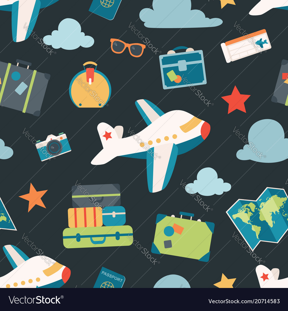 Air travel navy seamless pattern background