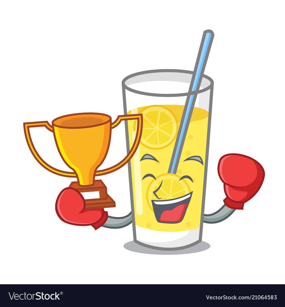 Boxing winner lemonade mascot cartoon style