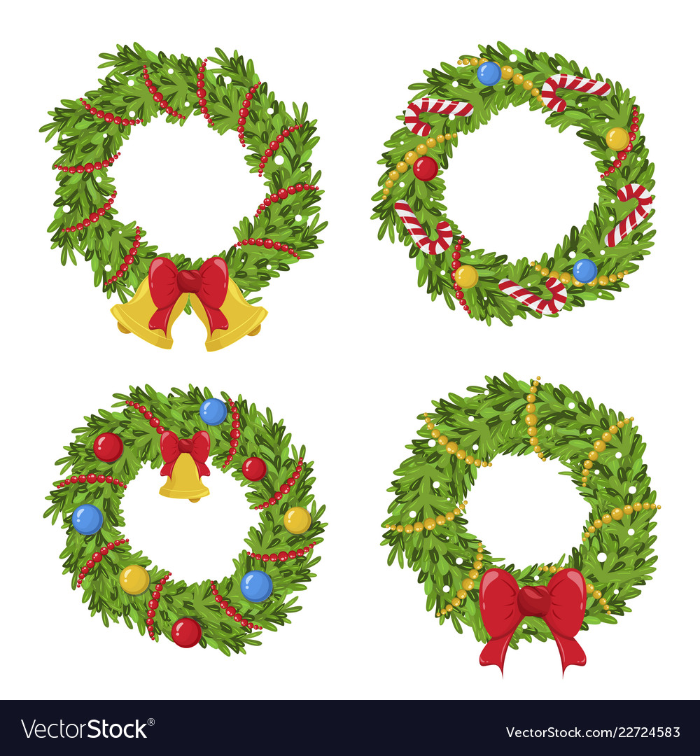 Christmas green wreath holiday decoration and