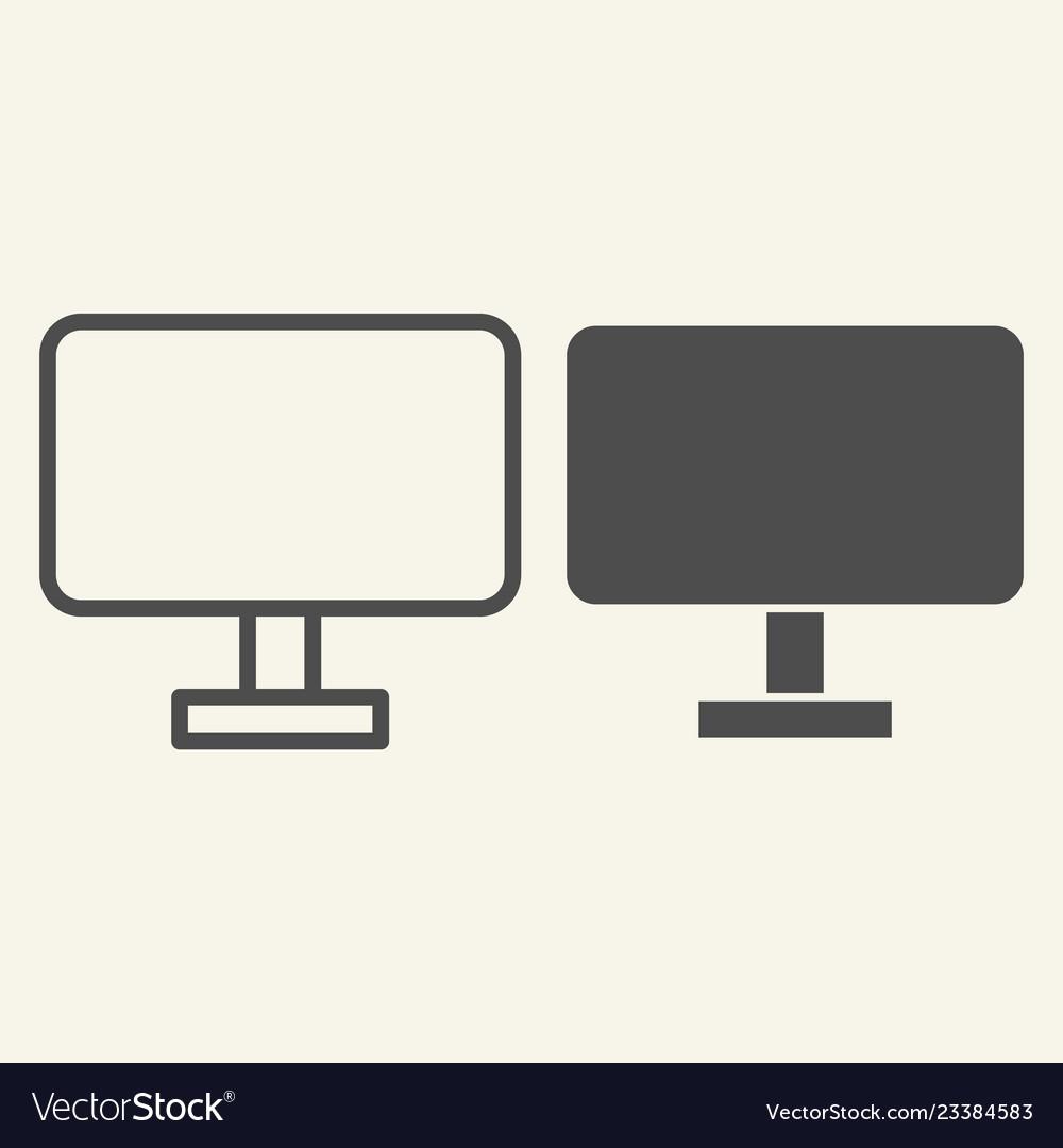 Computer monitor line and glyph icon pc screen