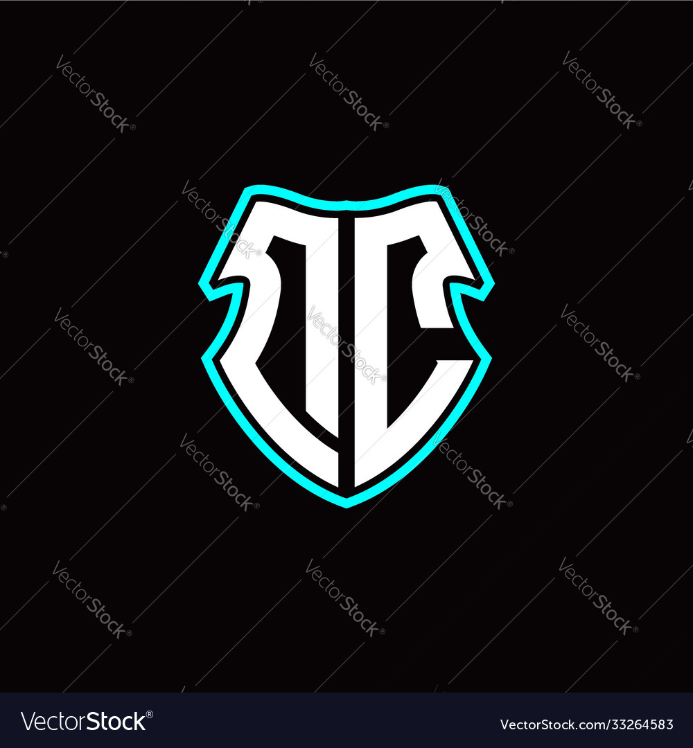 Dc initial logo design with a shield shape