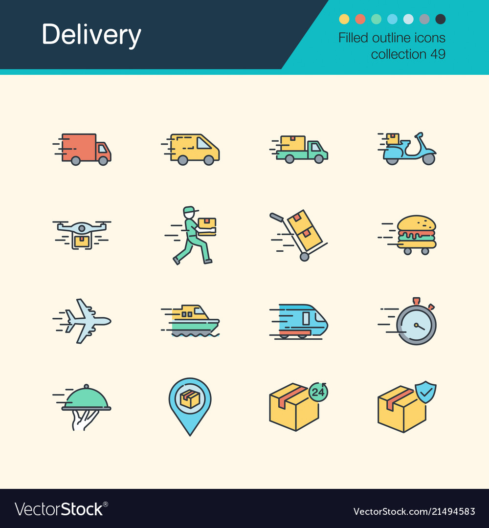 Delivery icons filled outline design collection