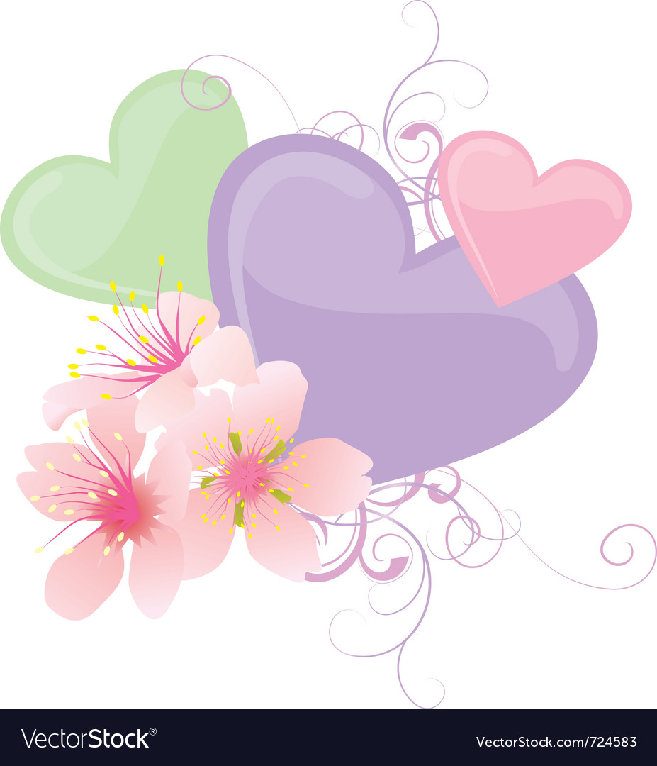 Hearts and flowers pastel vector image
