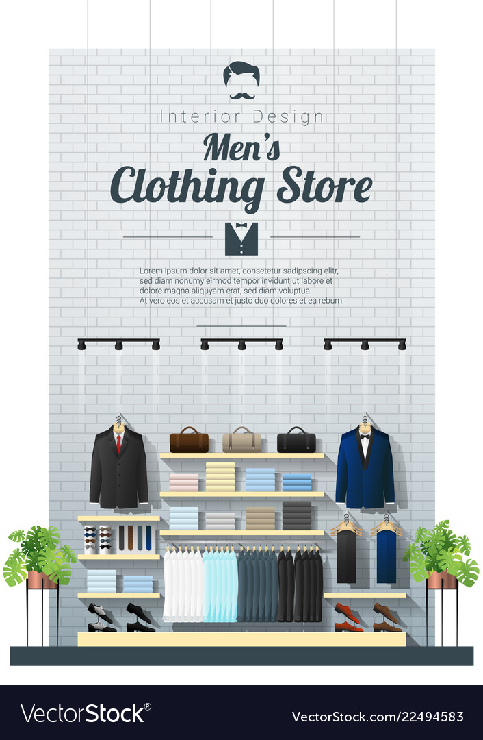 0d935ed542d Interior background of modern men clothing store Vector Image
