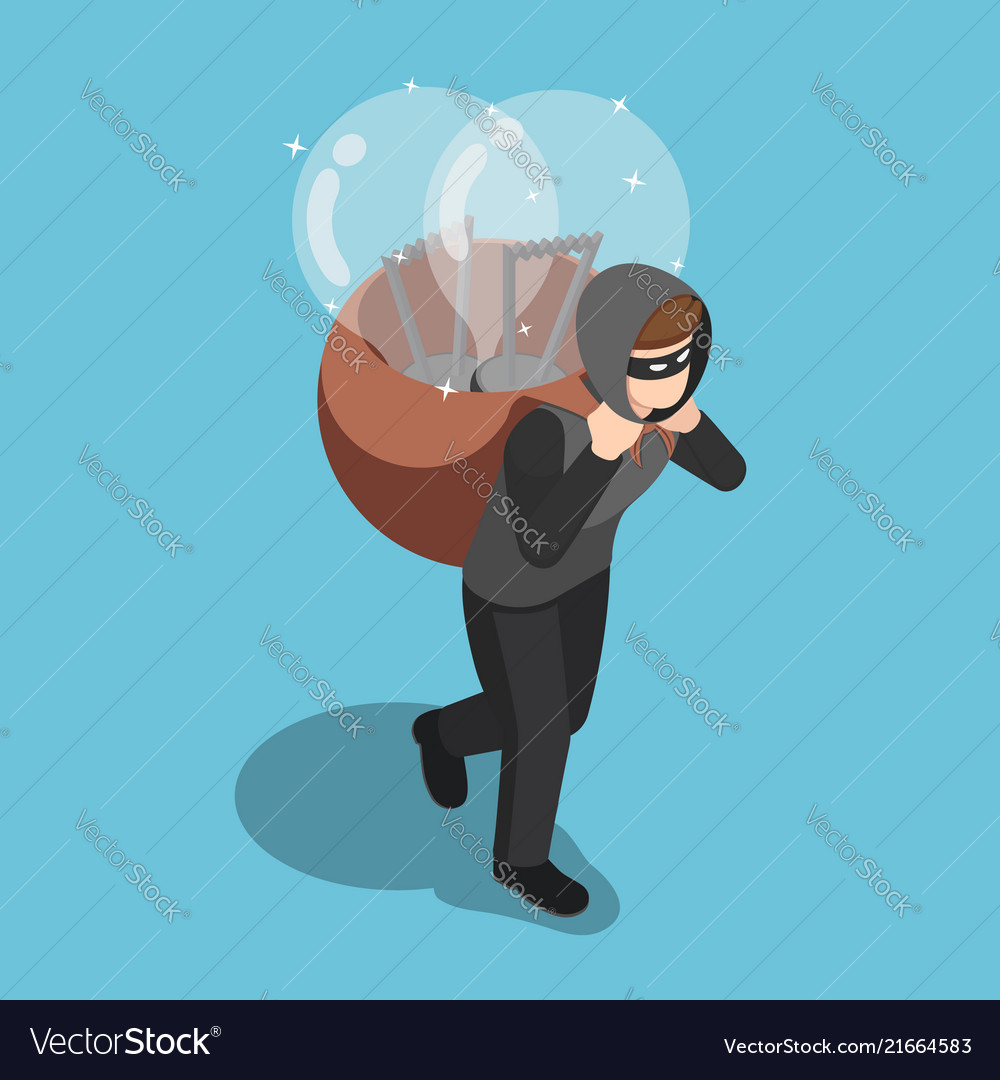Isometric thief stolen light bulb idea and