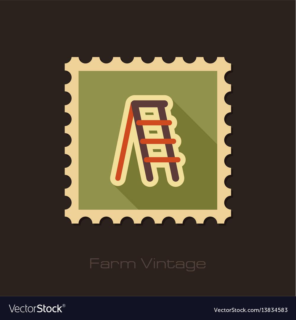 Ladder stepladder stair retro flat stamp