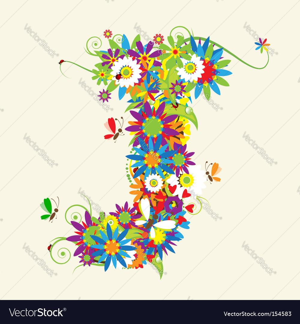 Letter J floral design Royalty Free Vector Image