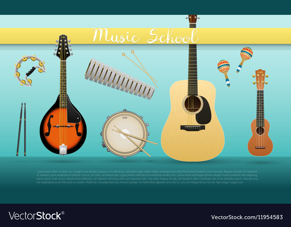 Realistic banner with musical instruments sign