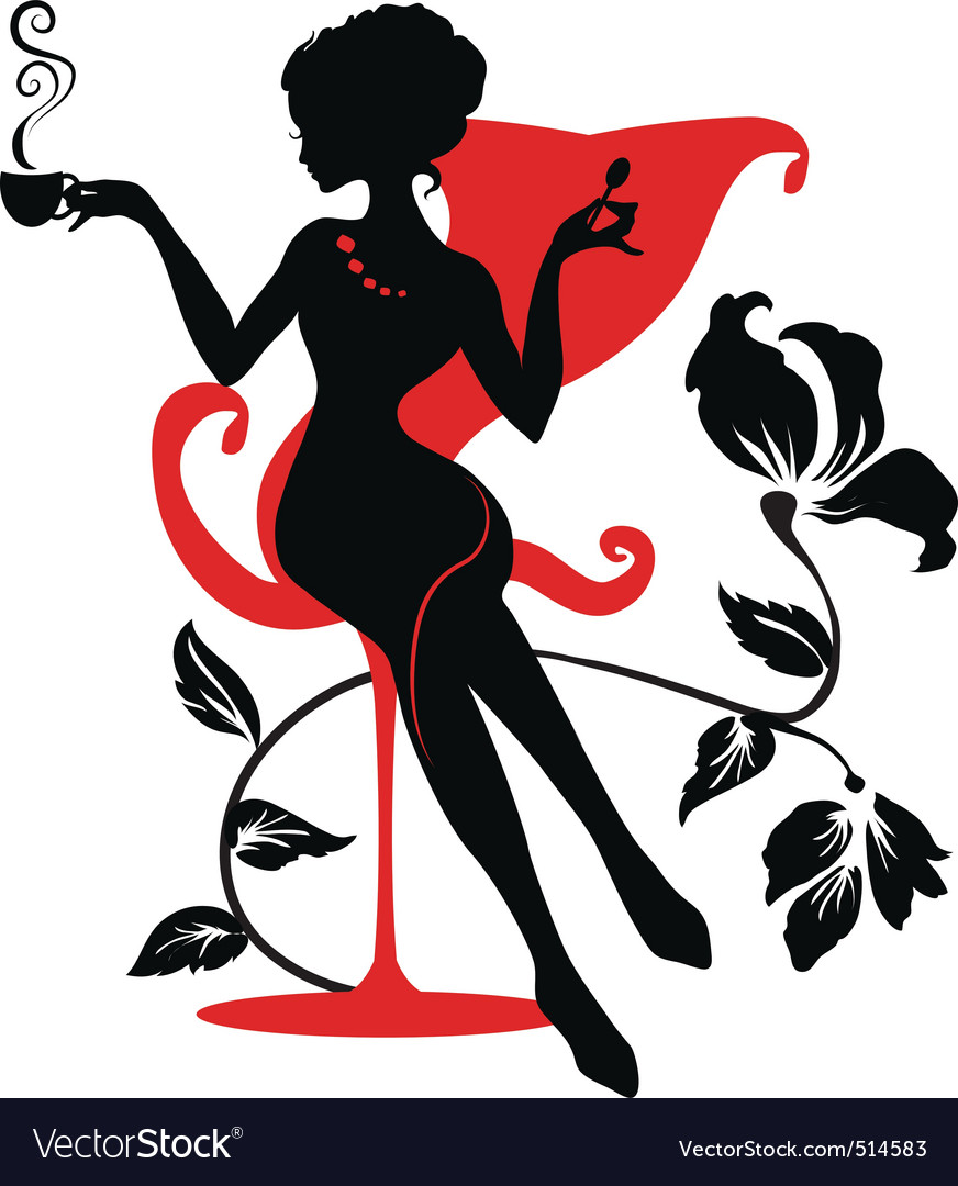 Stylish woman silhouette vector image