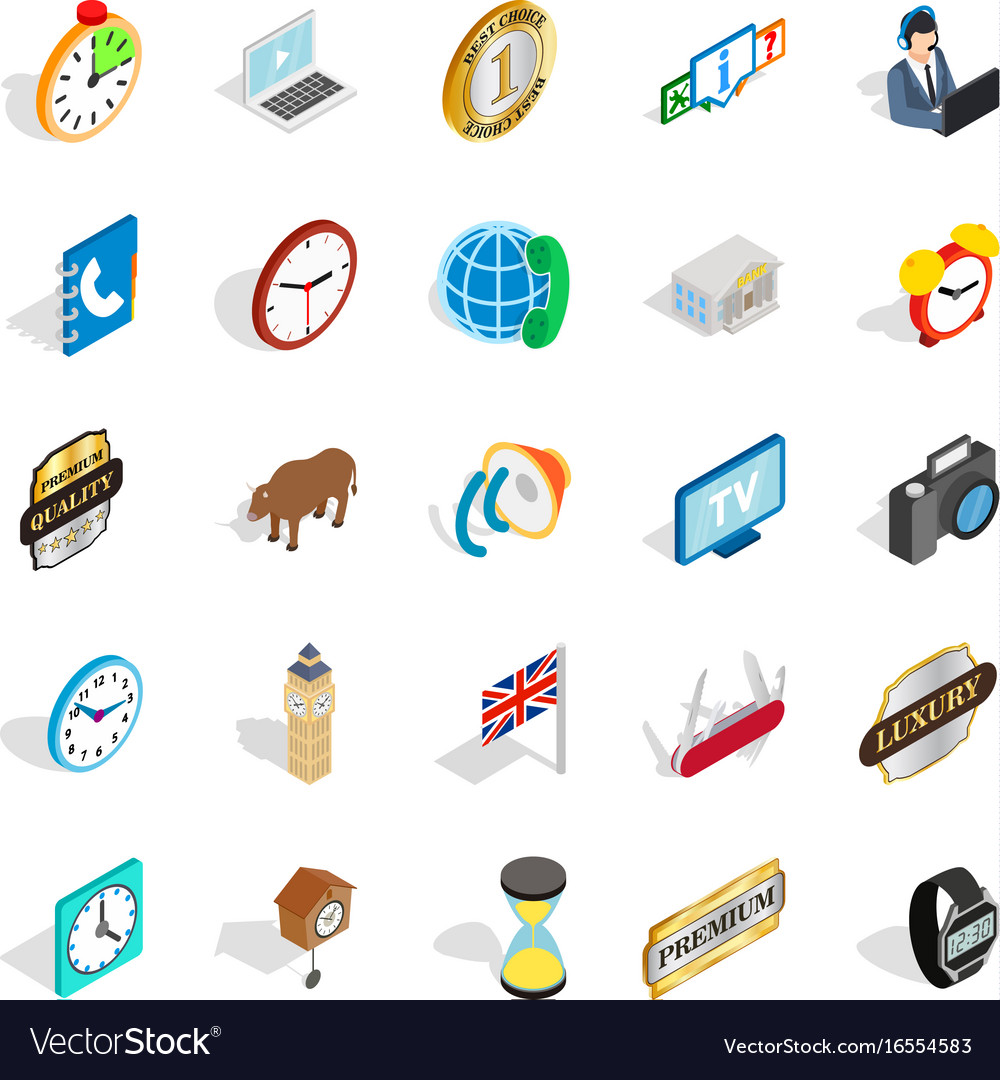 Time period icons set isometric style