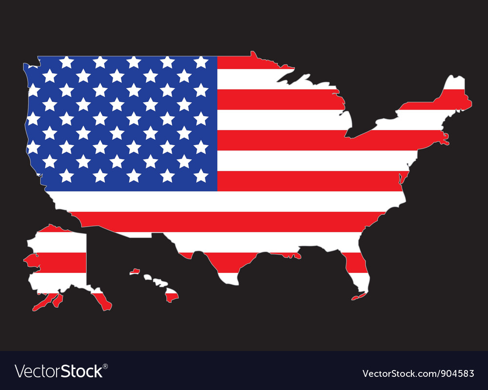 USA map outline with flag