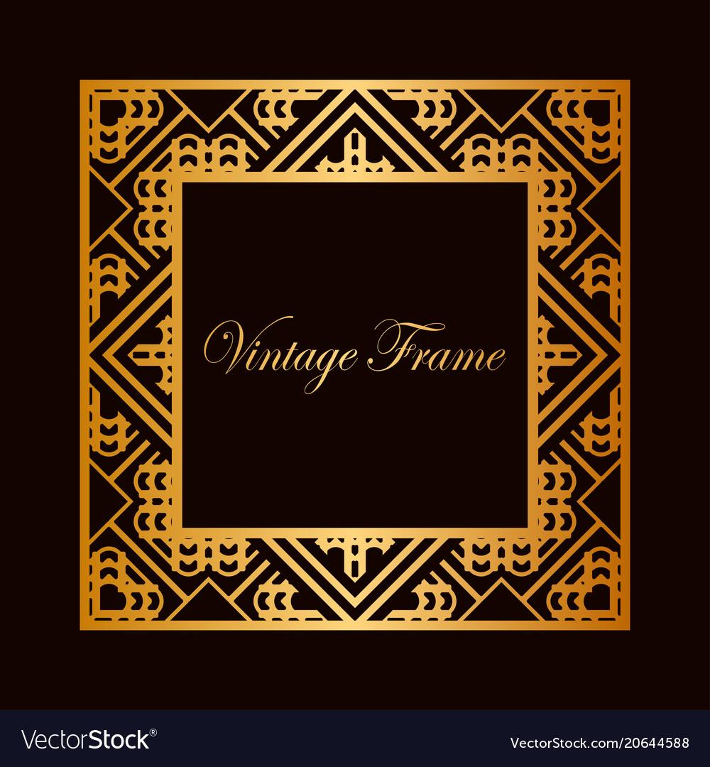 gold frame border vector. Beautiful Gold Art Deco Frame Border Vector Image Inside Gold Frame Border Vector