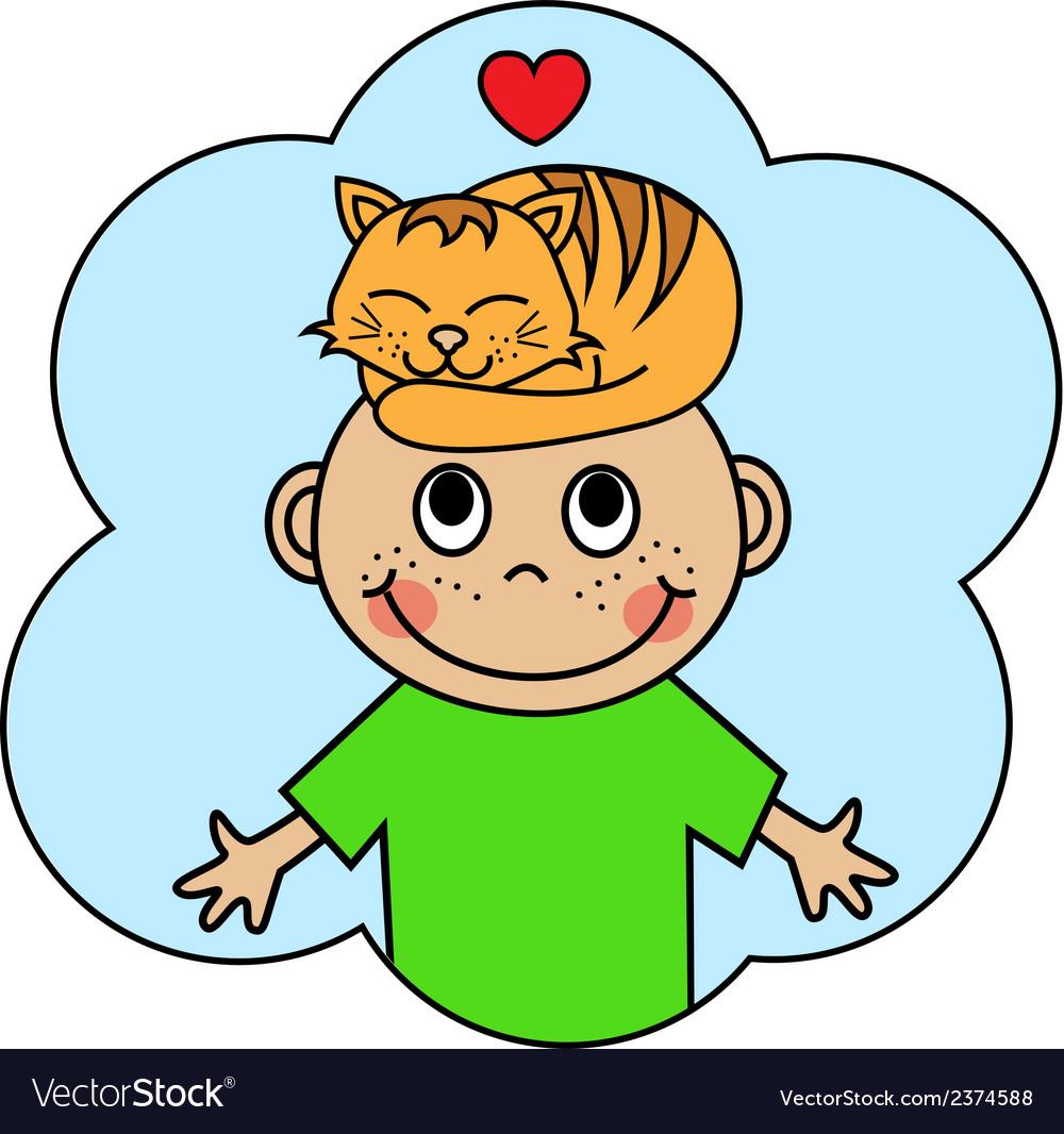Cartoon boy and sleeping orange cat