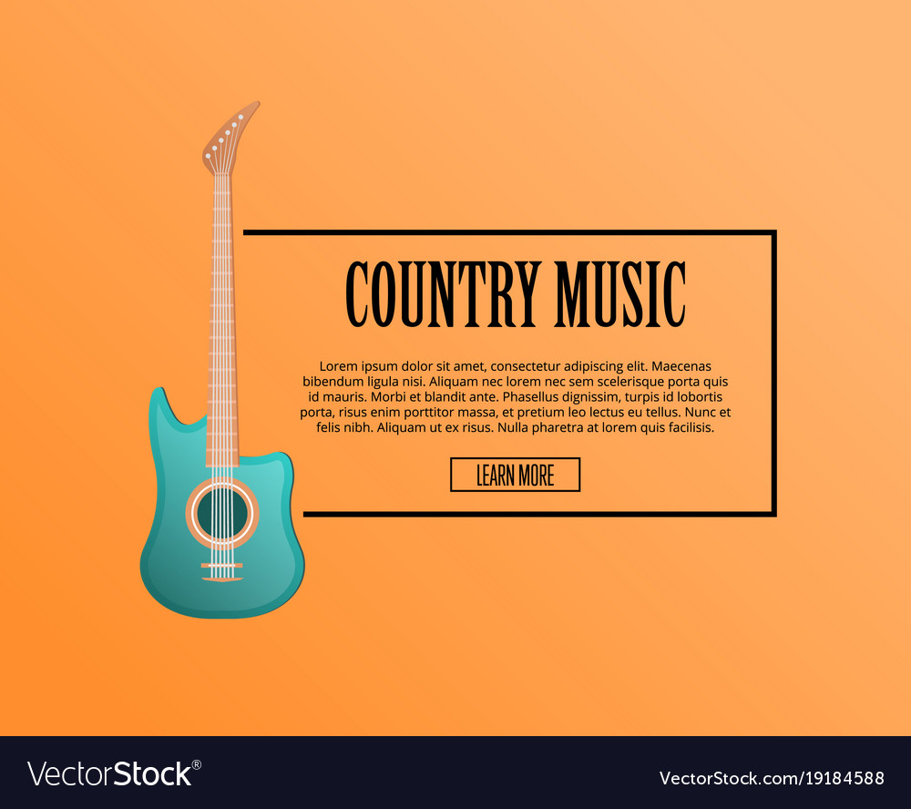 Country music poster with acoustic guitar vector image