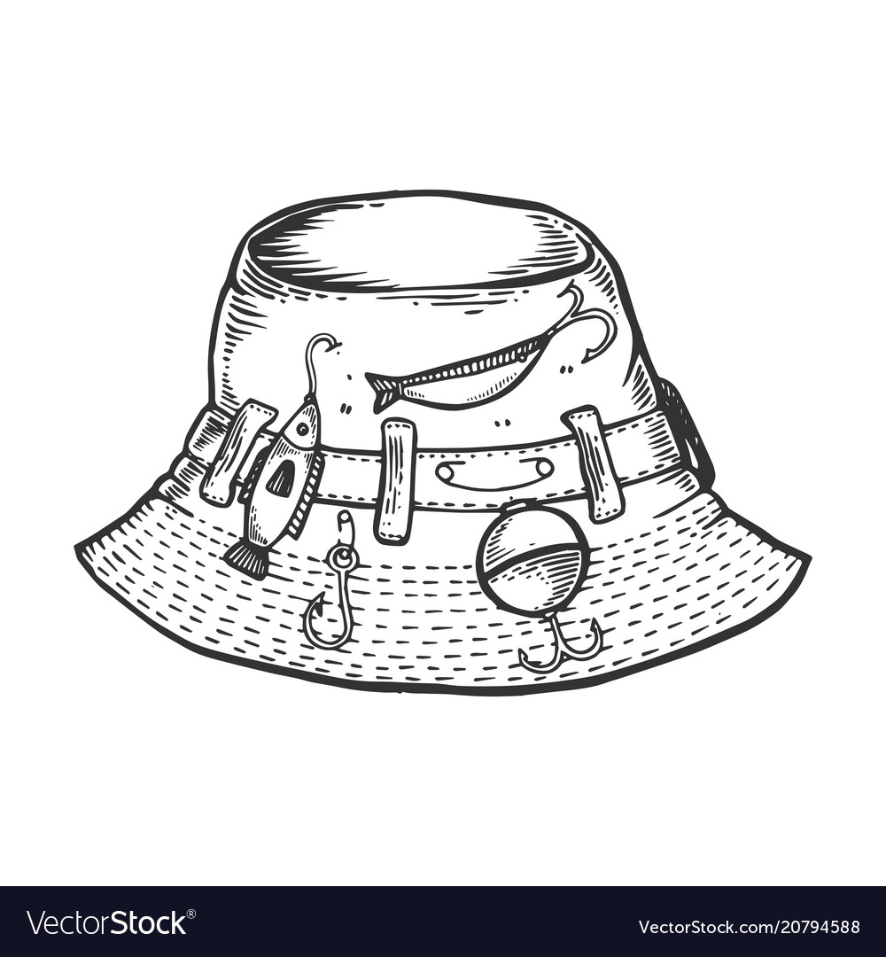Fisherman hat engraving vector image