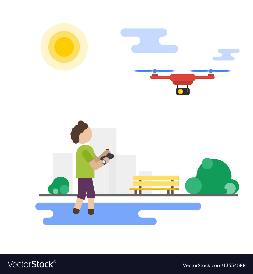 Flat boy playing with flying drone in the park