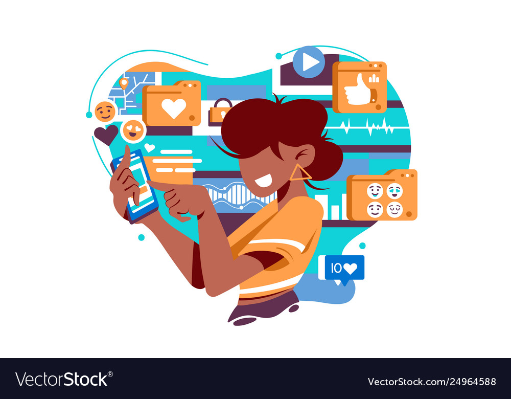Flat isolated young american woman with mobile