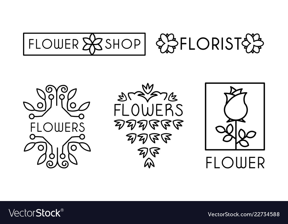 Flower shop logo set design elements can be used