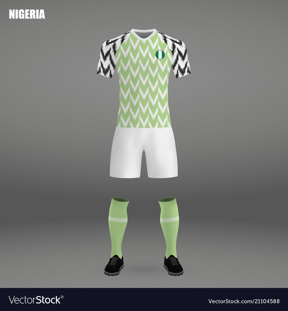 Football kit of nigeria 2018 Royalty Free Vector Image 283cf1b64