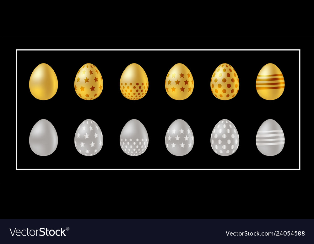 Golden and silver easter eggs icons