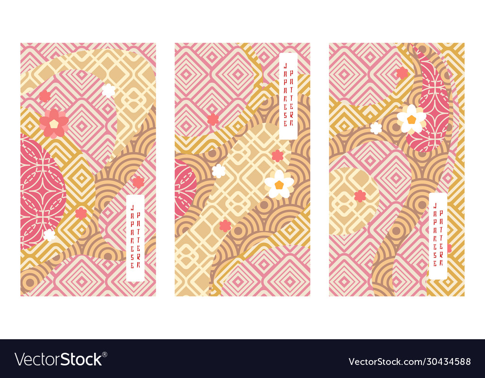Japan traditional geometric landscape vector