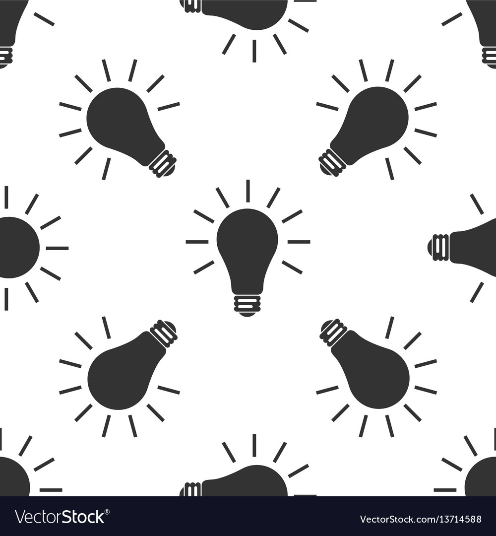 Light bulb icon seamless pattern on white