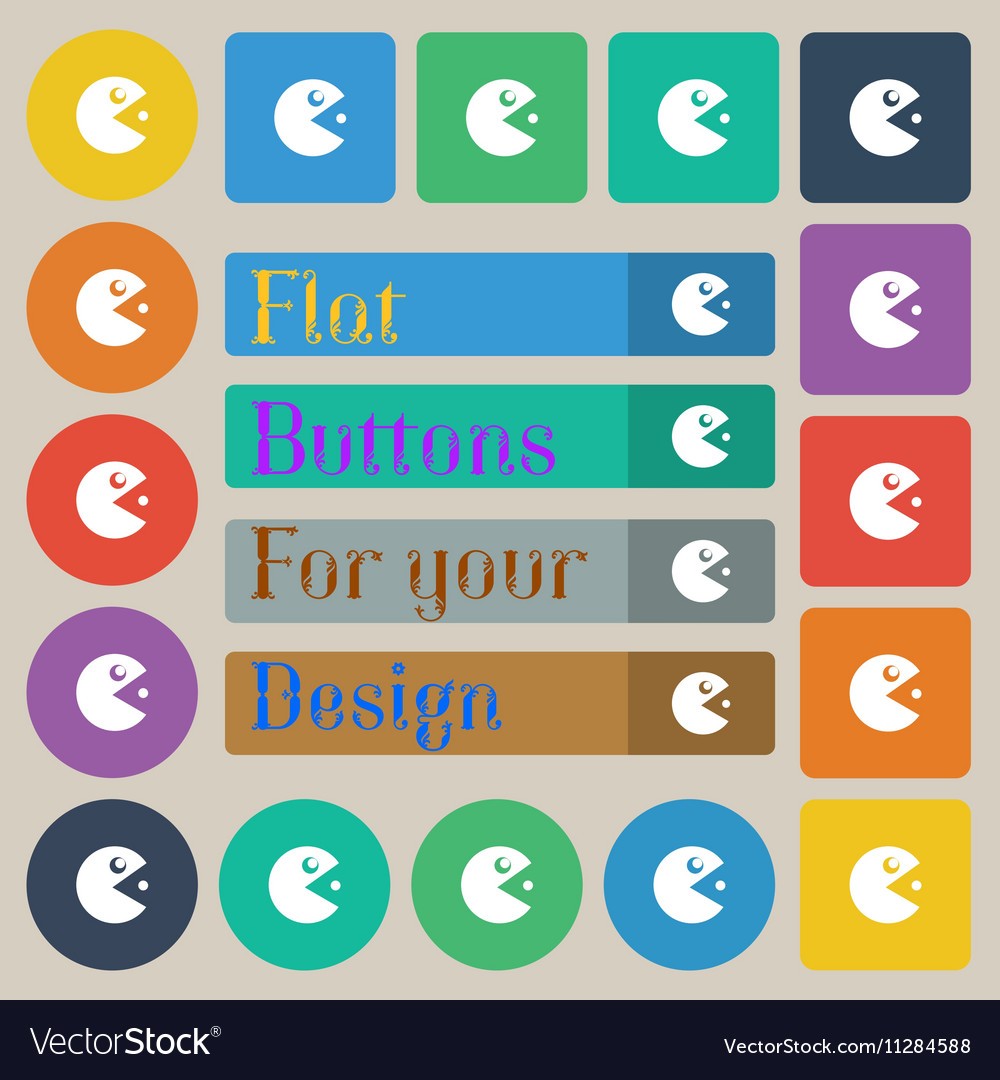 Pac man icon sign Set of twenty colored flat round