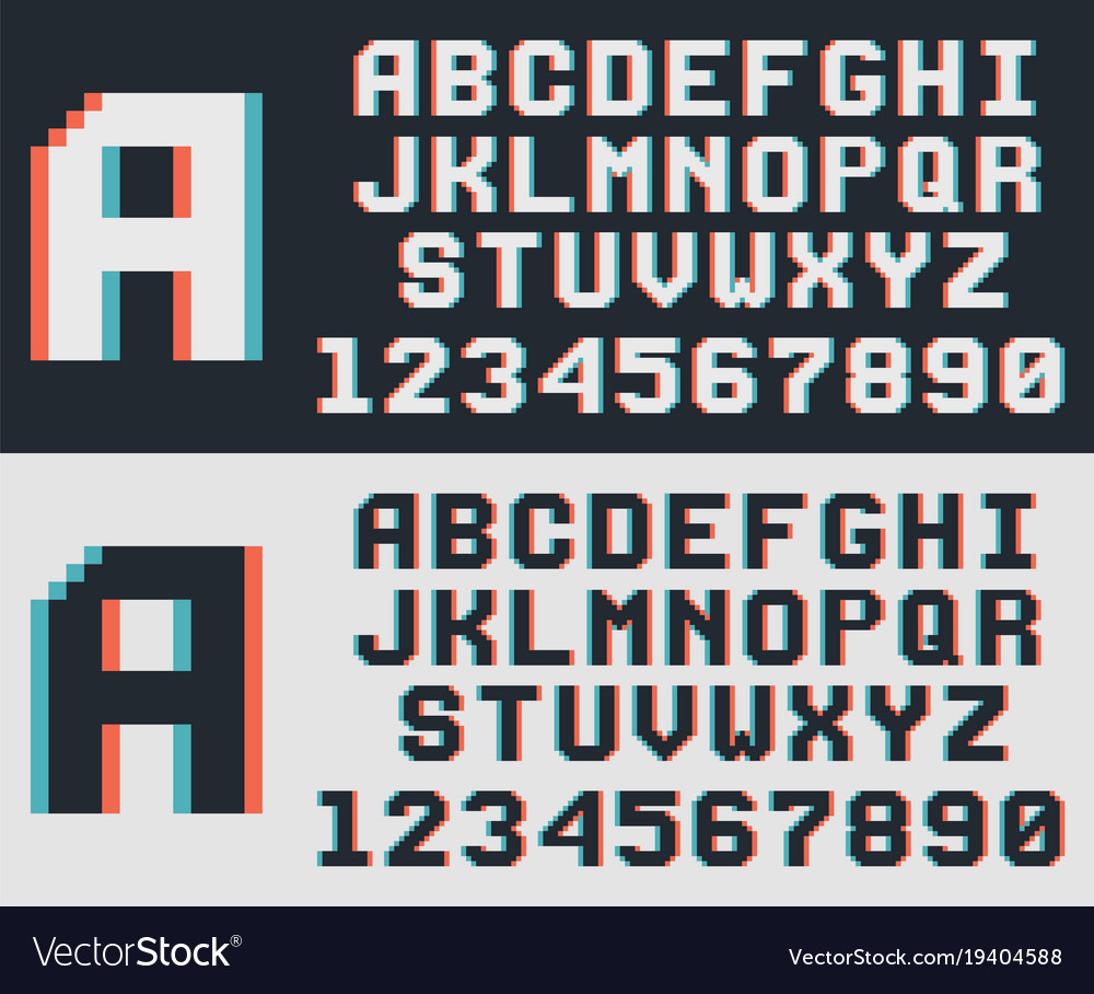 pixel video game font retro 8 bit letters and vector image
