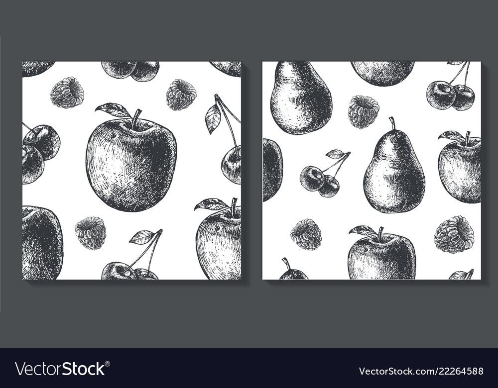 Set of seamless fruit pattern food