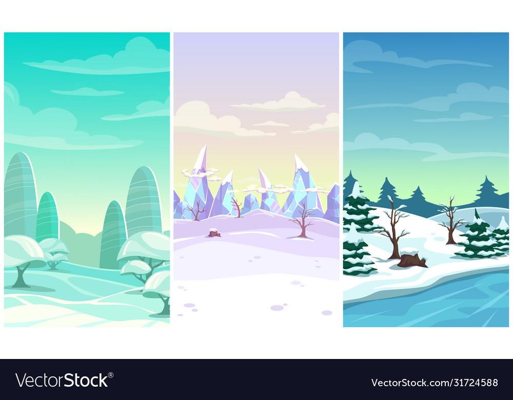 Set three winter vertical background cartoon