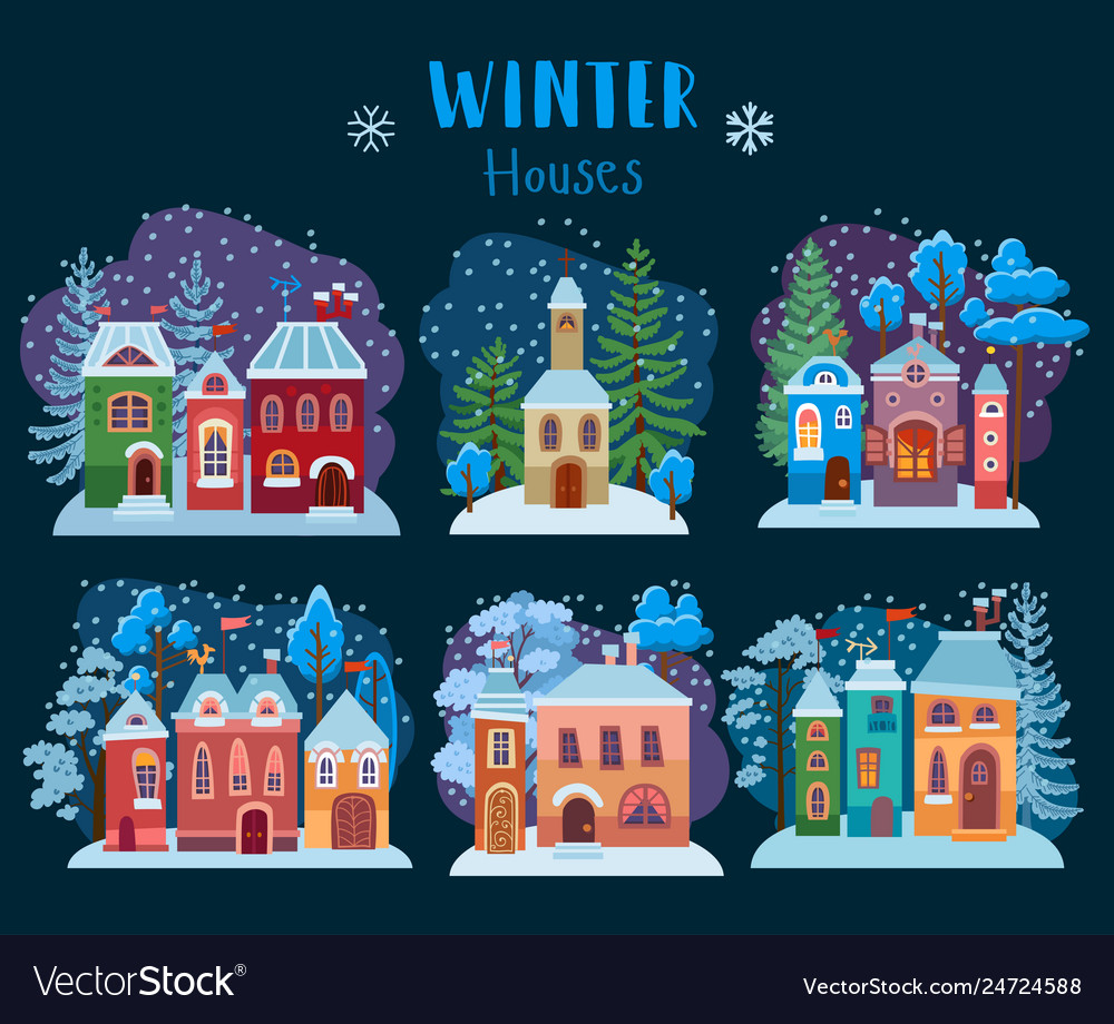 Winter collection of christmas houses cozy snow