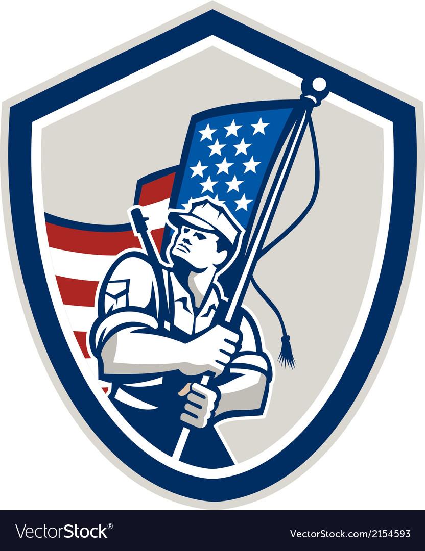 American Soldier Waving Stars Stripes Flag Shield