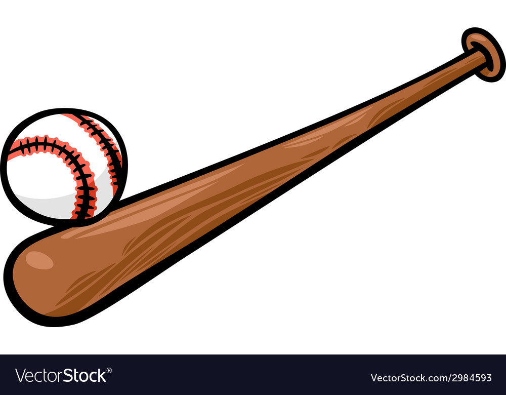 19450e5bae54f Baseball ball and bat cartoon clip art Royalty Free Vector